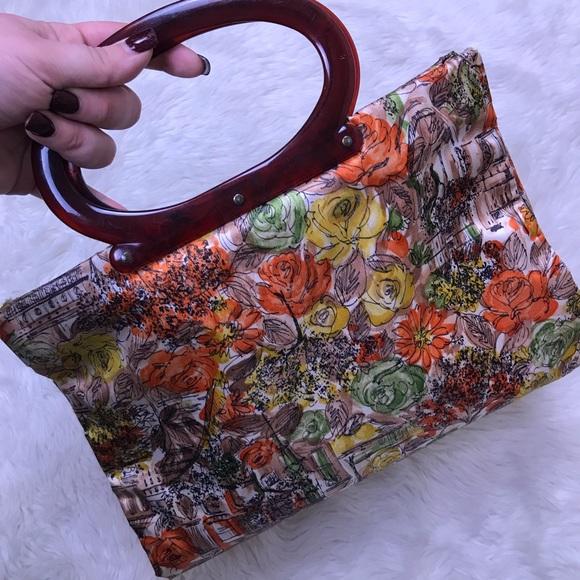 Vintage Handbags - VINTAGE Floral Autumn Purse Tote Round Handbag